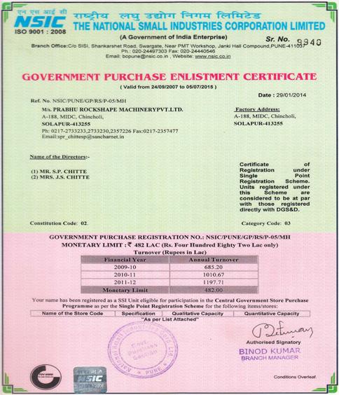 Certifications of Prabhu Rockshape